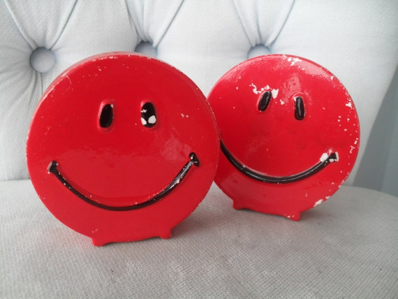 Vintage 70s Smiley Face Salt and Pepper Shakers