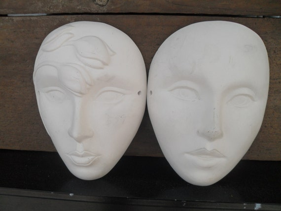 Vintage Pair of Ceramic Face Mask Wall Hangings for Painting