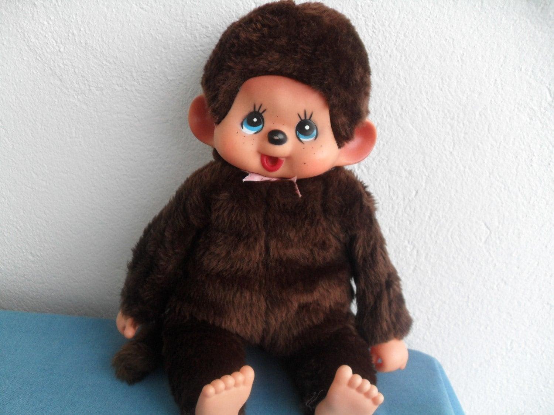Vintage Monchhichi Plush Monkey Doll 80s
