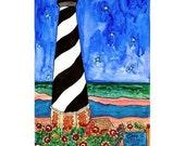 Lighthouse Print, Cape Hatteras, NC - Nautical Beach Print Series