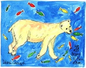 Polar Bear and Fishes - Jungle Safari Animal Prints Series