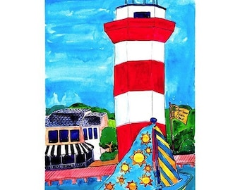 Lighthouse, Hilton Head - Beach Nautical Print Series