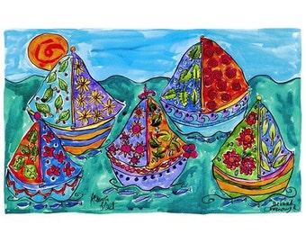 Flower Sail Boats Sailing - Nautical Beach Print Series