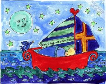 Boy in Sailboat - Personalized Nautical Beach Print Series