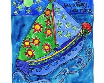 Sailboat Under a Starry Sky - Nautical Beach Print Series
