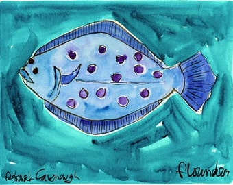 Flounder FIsh - Nautical Beach Print Series