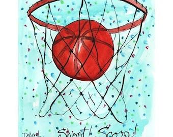 Basketball Hoop and Ball - Sports Series Print