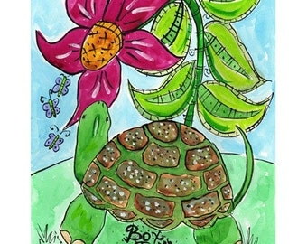 Box Turtle and Flower - Pets and Pals Animal Series Print