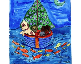 A Dog, A Cat, and A Teddy Bear - Stuffed Animal Friends in a Sail Boat - Pets and Pals Print Series