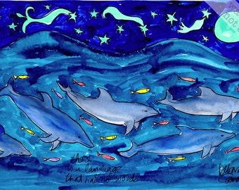Dolphin Fish Family Swimming Under a Night Sky - Nautical Beach Animals Print Series