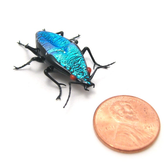dichroic glass Turquoise Mini Jewel Beetle - sparkly glass figurine