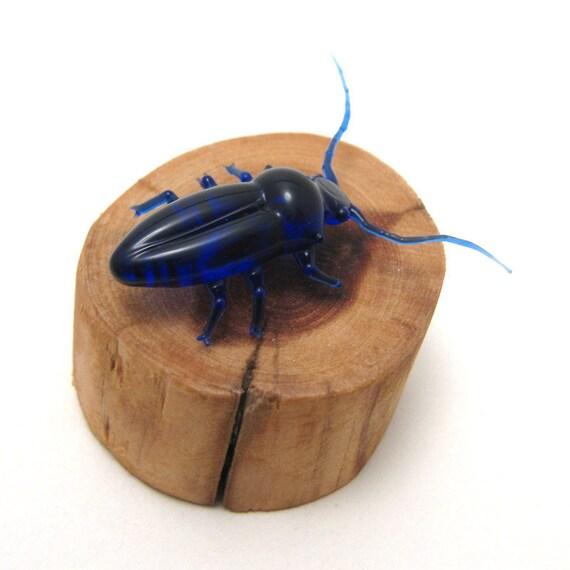 mini longhorn beetle, cedar mount - lampwork glass insect figurine
