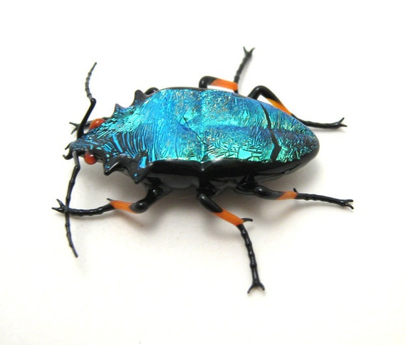 dichroic glass Emerald Jewel Beetle - sparkly glass beetle figurine