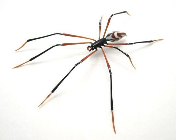 Banded Zulu Spider - lampworked glass spider figurine