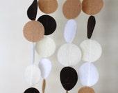 neutrals felt garland (brown, cream, white and tan)
