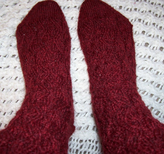 Hand Knitted Peruvian Highland Wool Socks Color is Garnet