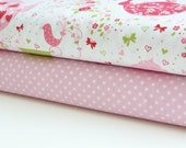 Michael Miller Fabric Duo Strawberry Tea Party and White Petit Point 2 yards