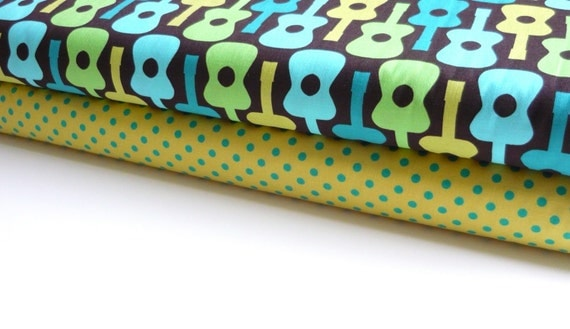 Michael Miller Fabric Duo Lime Groovy Guitar and Caribe Dumb Dot 2 yards total