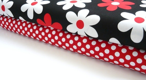 Michael Miller Lil Plain Jane Red and Minnie Ta Dot 2 yards total Fabric Duo