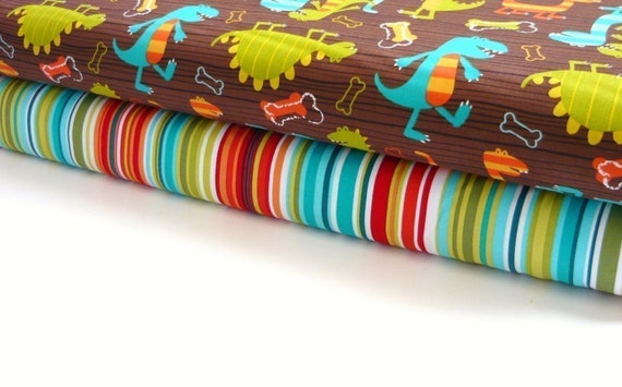Michael Miller Fabric Duo Dino Dudes and Bungalow Stripe 2 yards total