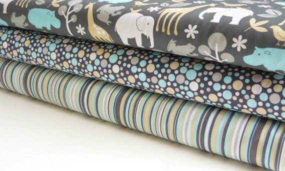Michael Miller Zoology Sea, Play Dot Sea and Play Stripe Sea 3 yards