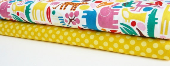 Fabric Duo Alexander Henry 2D Zoo Primary and MM Mustard Ta Dot 2 yards