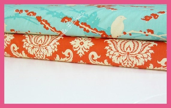 JD Fabric Duo-Sparrows in Aqua and Saffron Damask 2 yards total