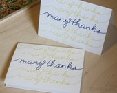 Many Thanks in Navy & Yellow folded card (set of 8) - everythinglittlemiss
