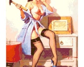 Handmade Vintage Retro Pin-Up Girl with Hammer and Nails PDF Cross-Stitch Pattern
