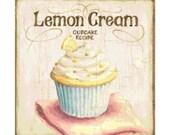 Handmade Lemon Cupcake Altered Art PDF Cross-Stitch Pattern