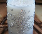 SNOW FAERY Yule Sabbat Winter White Quartz Crystal Snowberry Soy Container Candle w/ Winterberry, Sugared Musk & Pine