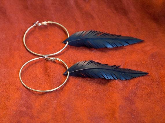Feather Recycled Bicycle Innertube Earrings On Gold Hoop Earring