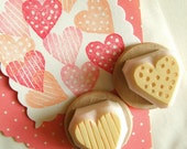 love heart stamp stamp set, hand carved rubber stamps, polka dot and stripe stamp, diy wedding birthday scrapbooking. set of 2. mounted