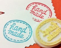 handmade stamp. hand carved rubber stamp. stitched appliqué stamp. makers/crafters. tag label/card/postcard making. gift wrapping/packaging