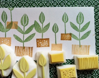 herbal garden stamp set. sprout stamps. flower hand carved rubber stamp. garden inspired scrapbooking. birthday holiday crafts. set of 6