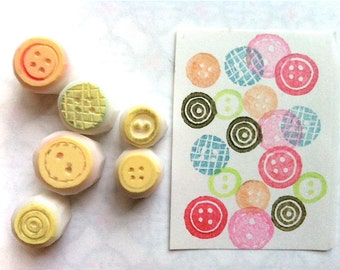 sewing button hand carved rubber stamps. diy birthday christmas scrapbooking. making cards gift tags. gift wrapping. set of 6. small. no1