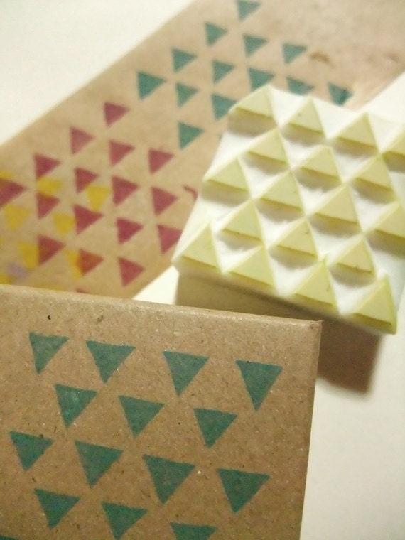 triangle pattern stamp. geometric hand carved rubber stamp. small triangles. birthday scrapbooking. gift wrapping. holiday party crafts