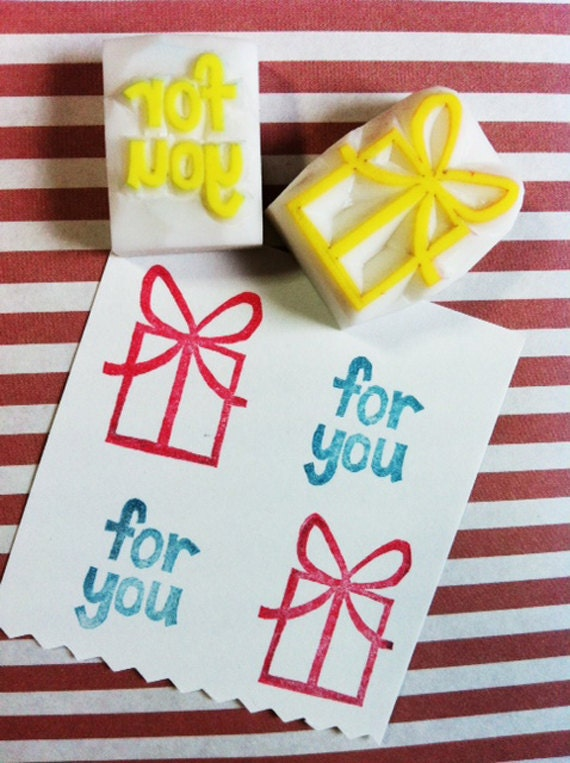 present stamp set. gift wrapping hand carved rubber stamp. gift box stamp. for you stamp. christmas holiday crafts.  set of 2. small