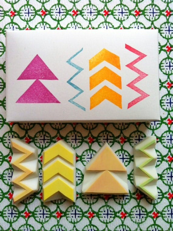 Geometric pattern stamps hand carved rubber