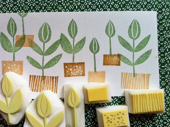 Herbal garden stamp set sprout stamps flower hand carved