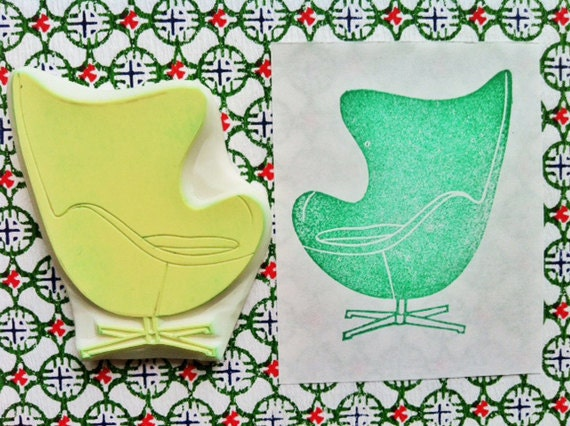 vintage egg chair stamp. chair hand carved rubber stamp. mid century. home decor. interior design. housewarming holiday crafts