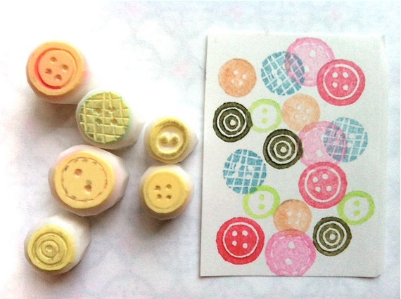 sewing button hand carve rubber stamps. diy birthday christmas scrapbooking. making cards gift tags. gift wrapping. set of 6. small. no1