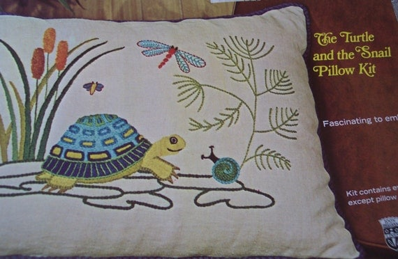 Turtle and Snail Pillow Kit Crewel Embroidery Vintage 1968