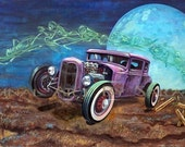 Driven By Demons hot rod art poster - ford rat rod rockabilly inspired hollywood hills death song for rebels and lowbrow lovers