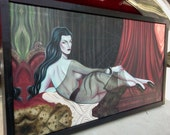 Le Vamp Odalisque - a haunted vampire halloween pin up  -Sara Ray Art limited edition canvas giclee-