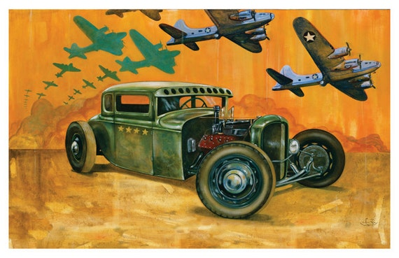 """Hot rod art """"Pride of the fleet"""" WWII warbird americana poster by Sara Ray"""