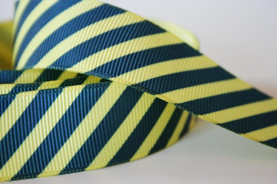 """Reserved for Laura-Anne --Yellow and Blue Stripes 7/8"""" Grosgrain Ribbon - 46"""""""