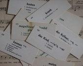 35 Vintage Language Flashcards - German, English, Latin, French, Japanese Spanish -n- Russian