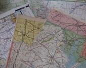 Half a Dozen Vintage Map Pages n Pieces & BONUS