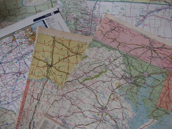Half a Dozen Vintage Map Pages n Pieces & BONUS